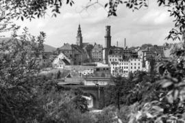 Panorama Bystrzycy Kłodzkiej z Góry Parkowej, fot. Tadeusz Scelina (ok. 1950)